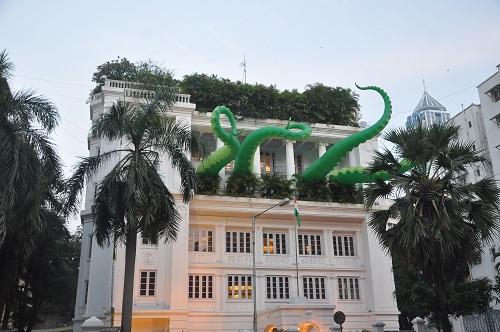 Jindal House with the Octopus art installation by Filthy Luker.