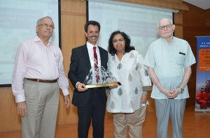 Dr Lala (second from left) with Mr  Lele (first from left), Ms Vinoo Hinduja (second from right), Dr Bhaleroa (first from right)