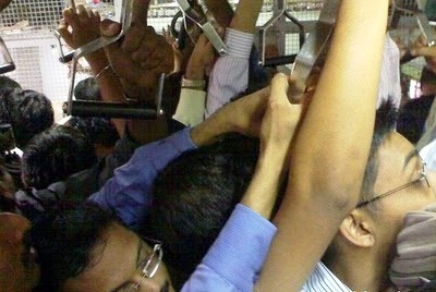 packed local train