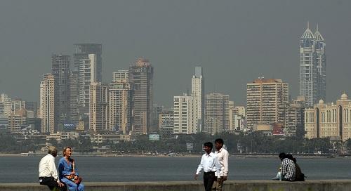 The Mumbai city skyline is seen from a s