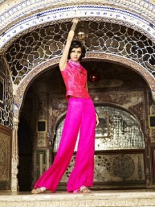 Interpret- Hot Pink Palazzo pants and Raw Silk Bandi