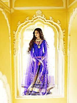 Timeless- Ink Blue Raw Silk Lehenga