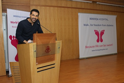 John Abraham addressing the audience  at the Diabetes Awareness Programme by P D Hinduja Hospital