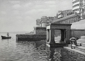 Benaras Ghat_Pen & Ink Drawing_Upcoming solo Exhibition_Nehru Centre _18th to 24th February, 13