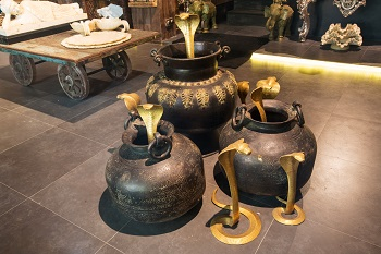 The artifacts on display come from the store's warehouse in Udaipur
