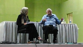Prof Spink in a discussion on stage