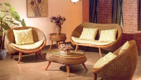 Cane furniture in the living room