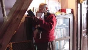 Ruskin Bond at home in Mussoorie