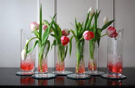 Glass vases arrangement